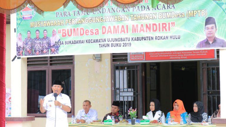 Ket Foto : Bupati H Sukiman Berharap Bumdes Tingkatkan Perekonomian Masyarakat.
