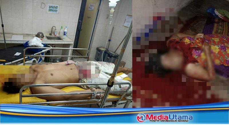Ket Foto : Pelaku (Suami korban) menjalani penanganan tim medis, di ruang IGD dan korban (kanan) tewas bersimpah darah.