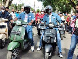 Maju di Pilkada, Bobby Nasution-Aulia Rahman Daftar ke KPU Kota Medan Naik Vespa