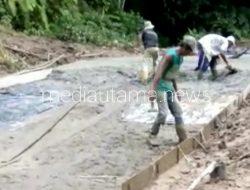 Pembangunan Jalan Rabat Beton di Desa Liang Pematang menuju Desa Bah Buntu Diduga Asal Jadi